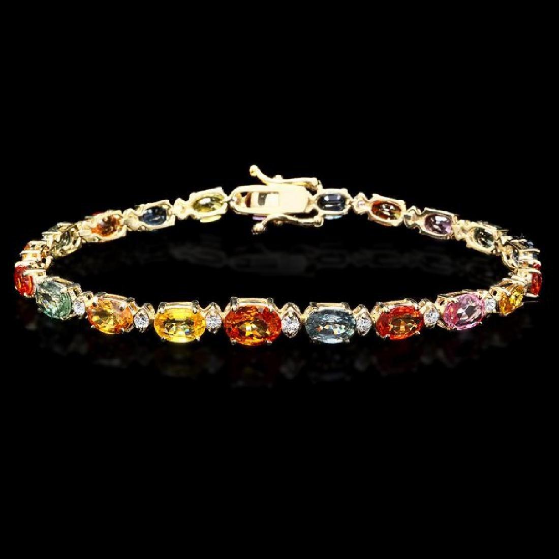 14k Gold 15.00ct Sapphire 0.70ct Diamond Bracelet