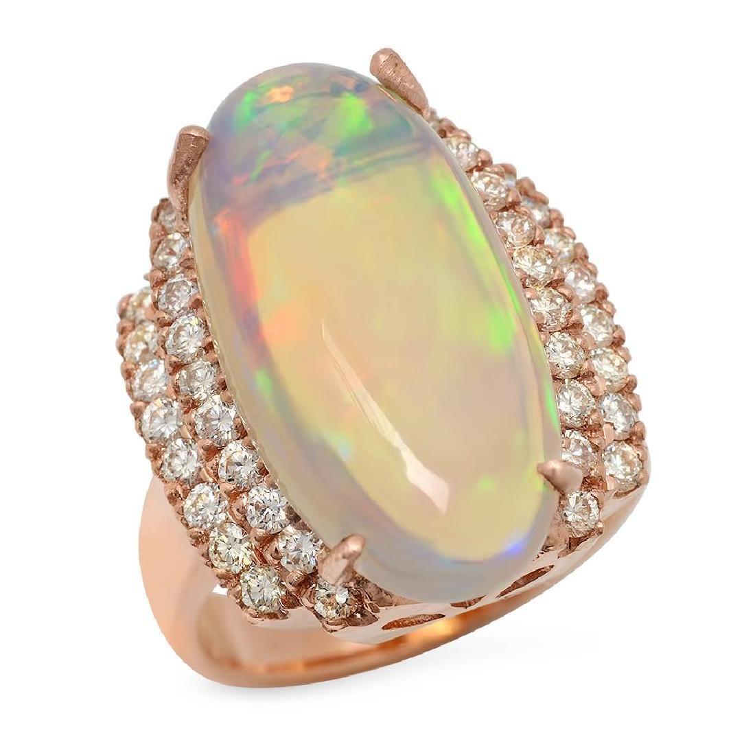 14K Gold 8.81ct Opal 1.10ct Diamond Ring