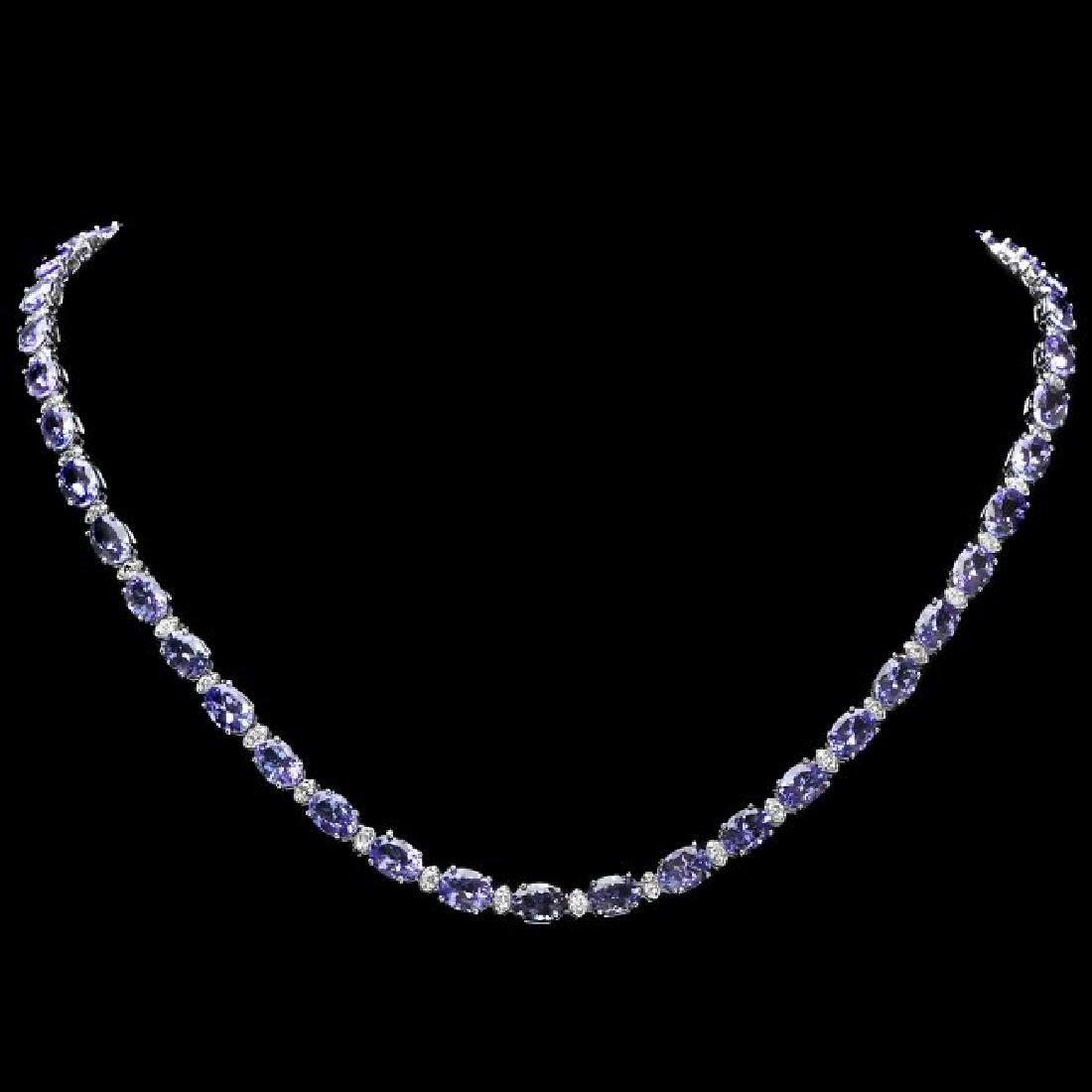 14k 35.50ct Tanzanite 1.75ct Diamond Necklace