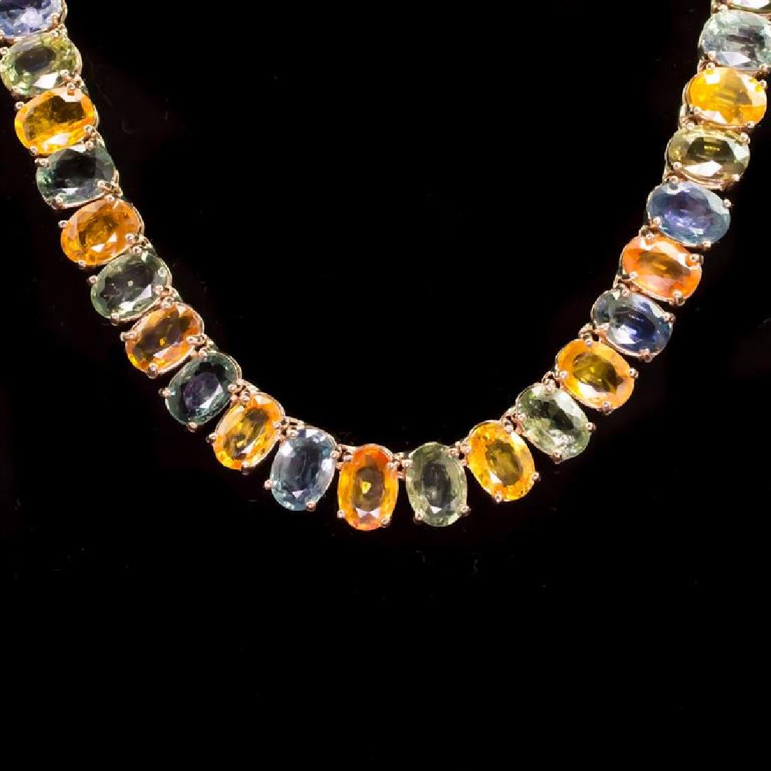 14K Gold 77.38ct Multi-Color Sapphire Necklace