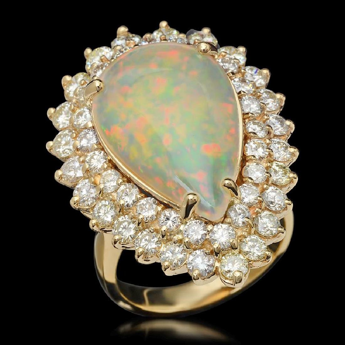 14K Gold 5.32ct Opal & 3.21ct Diamond Ring