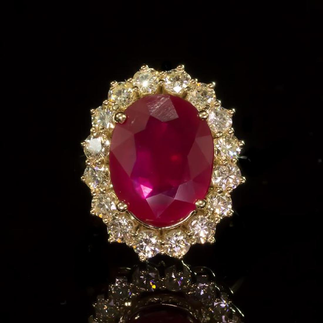 14k Gold 7.27ct Ruby 1.70ct Diamond Ring