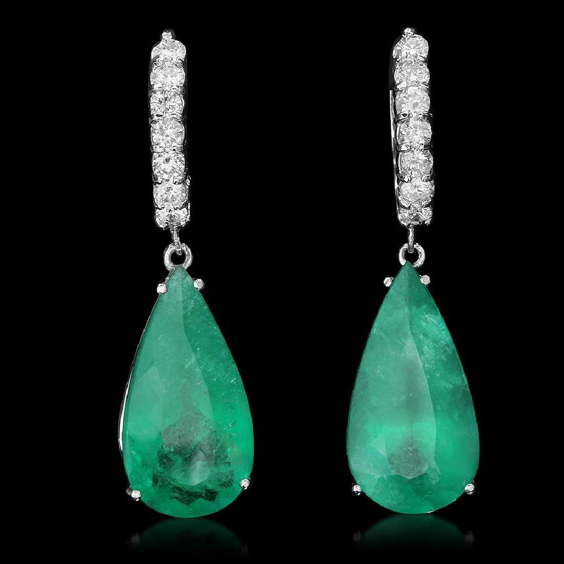 14K Gold 19.70ct Emerald 1.30ct Diamond Earrings