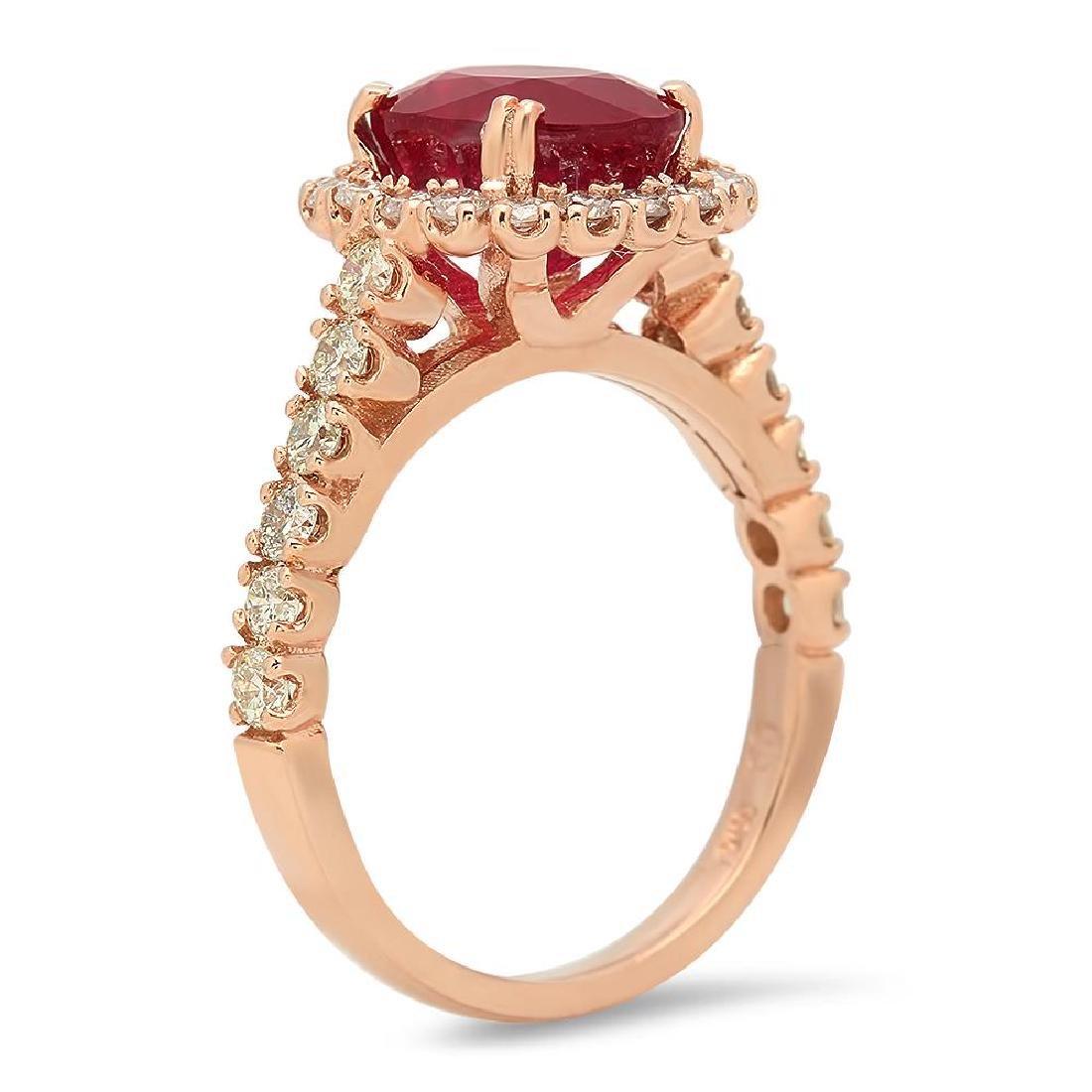 14K Gold 4.43ct Ruby 1.05cts Diamond Ring