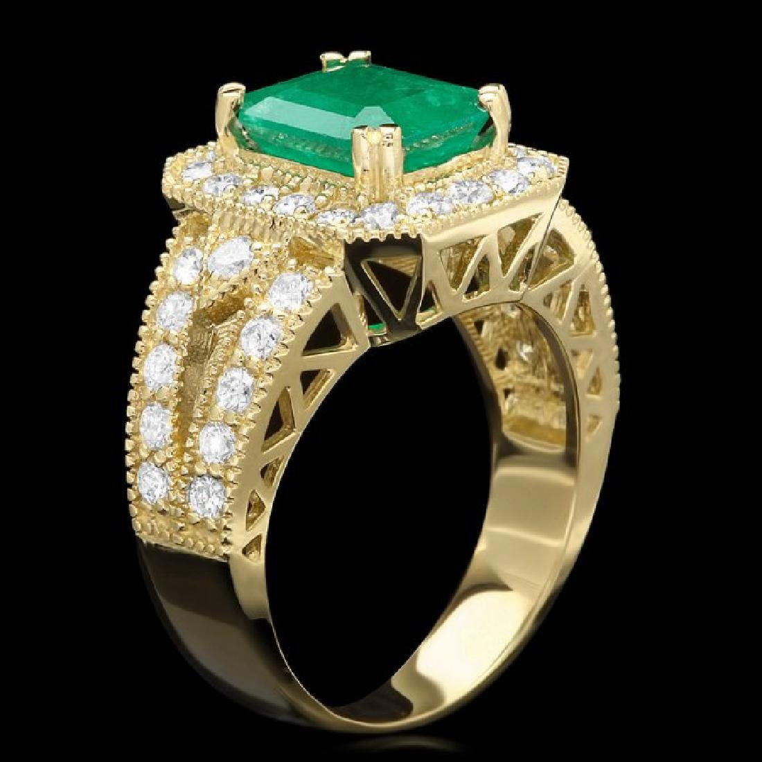 14k Gold 2.20ct Emerald 1.30ct Diamond Ring
