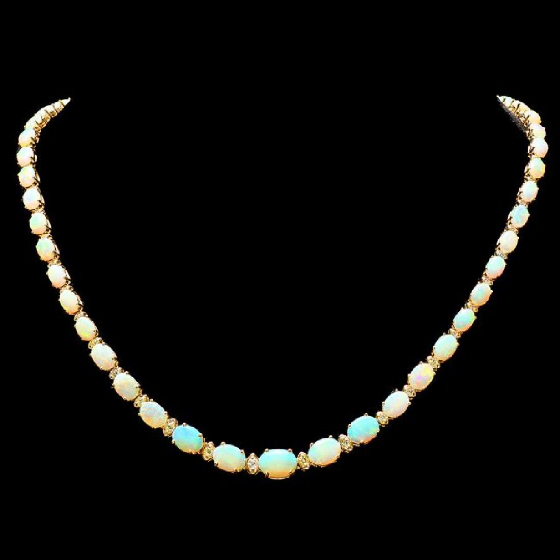 14k Gold 20.00ct Opal 1.00ct Diamond Necklace