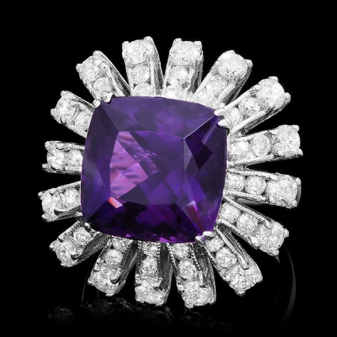 14k Gold 9.00ct Amethyst 3.85ct Diamond Ring