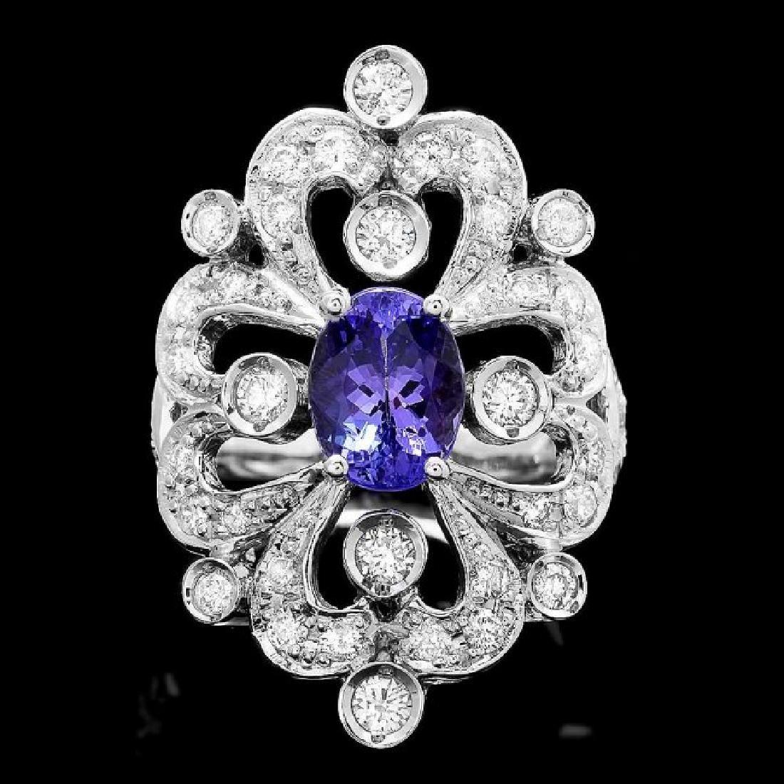 14k Gold 2.00ct Tanzanite 1.20ct Diamond Ring