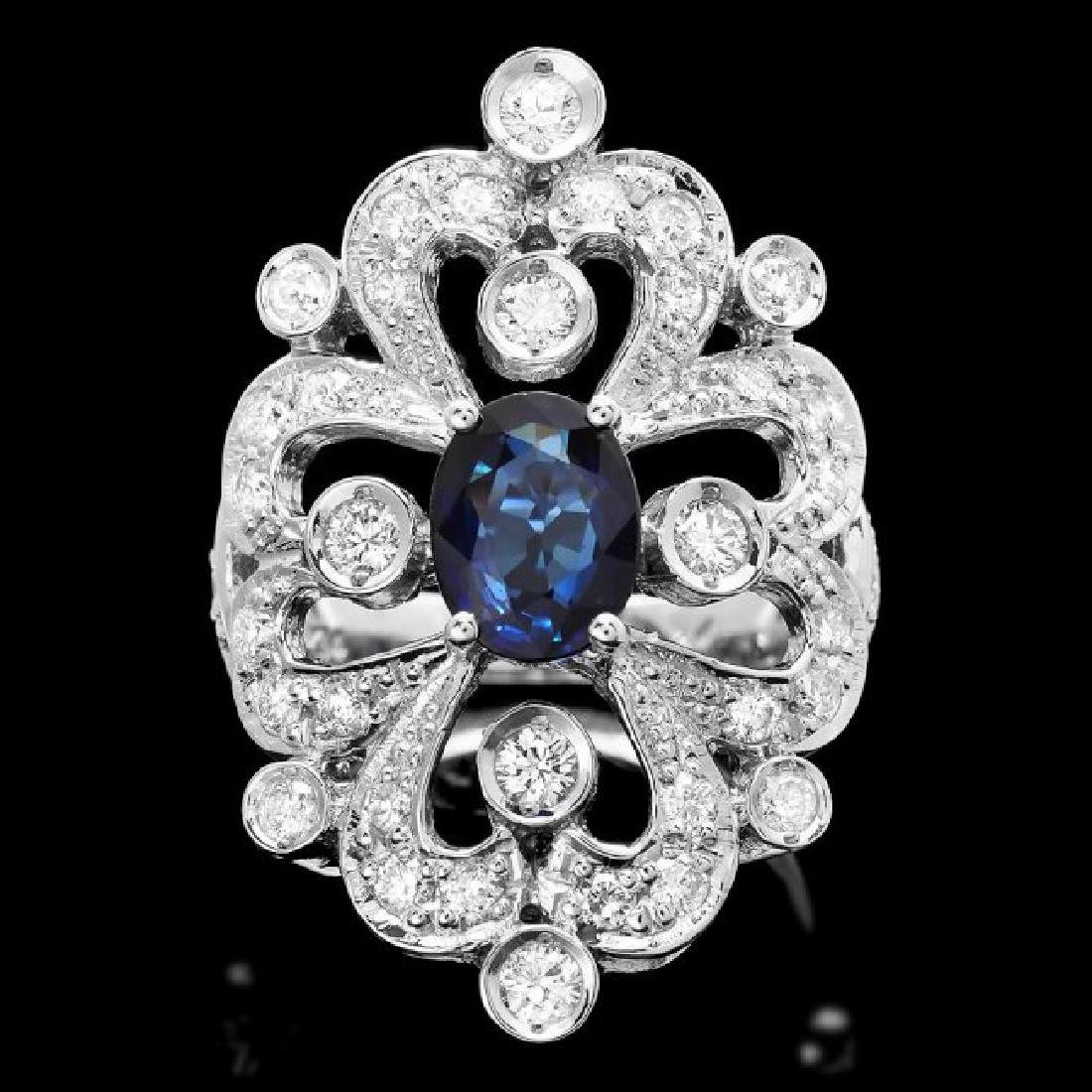 14k Gold 1.70ct Sapphire 1.30ct Diamond Ring