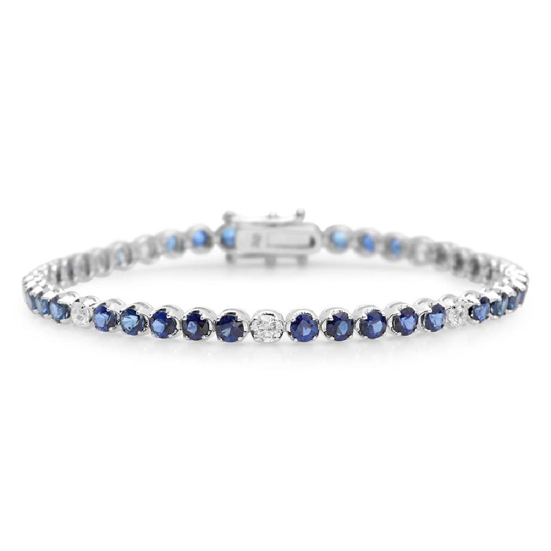 18K Gold 5.75ct Sapphire 0.84cts Diamond Bracelet