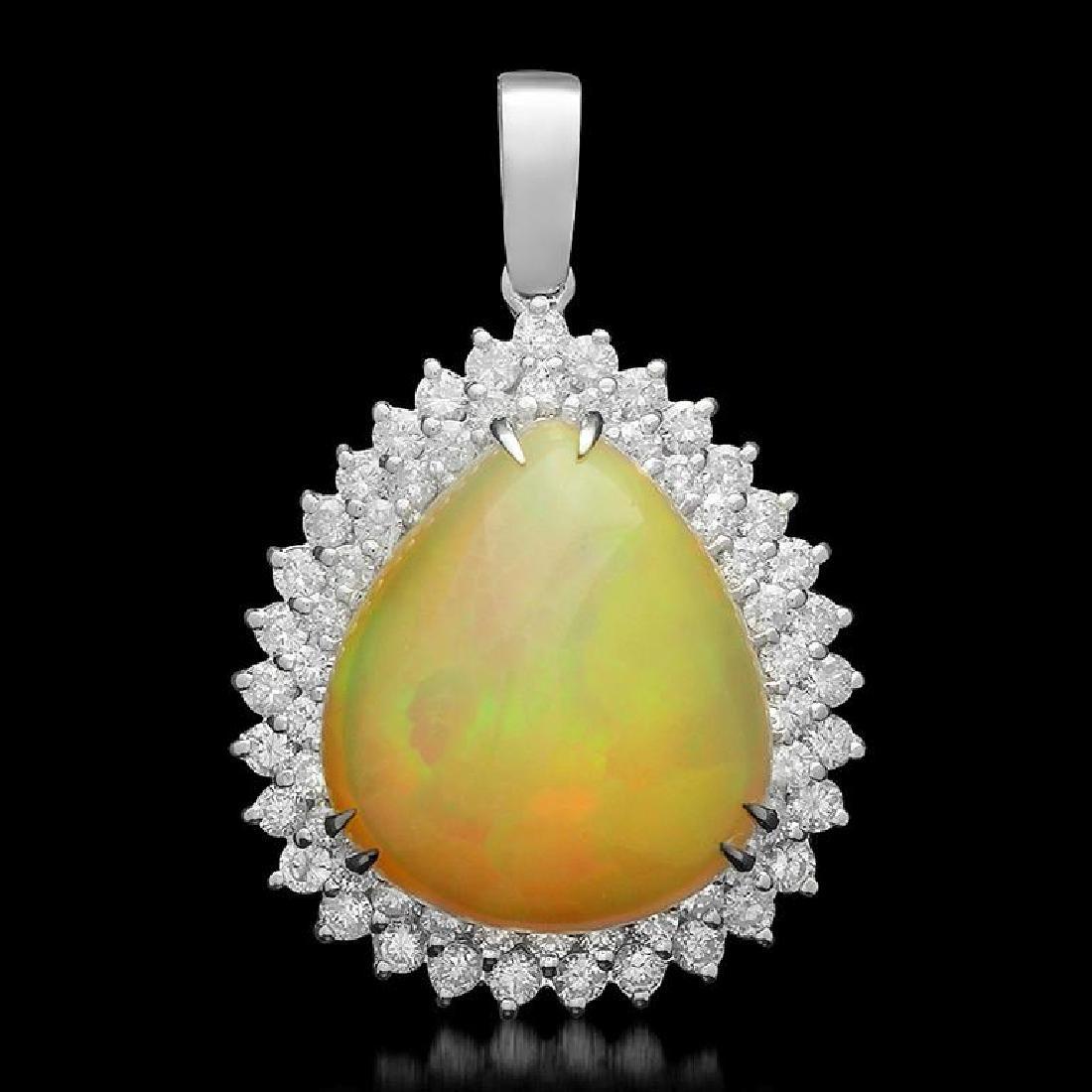 14K Gold 14.86ct Opal 2.35ct Diamond Pendant