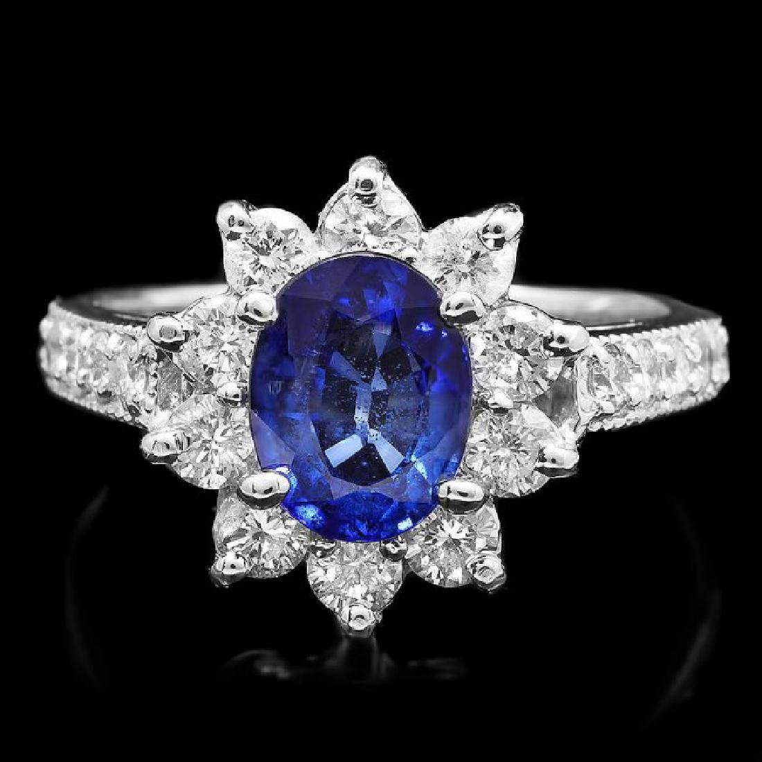 14k Gold 1.80ct Sapphire 1.15ct Diamond Ring