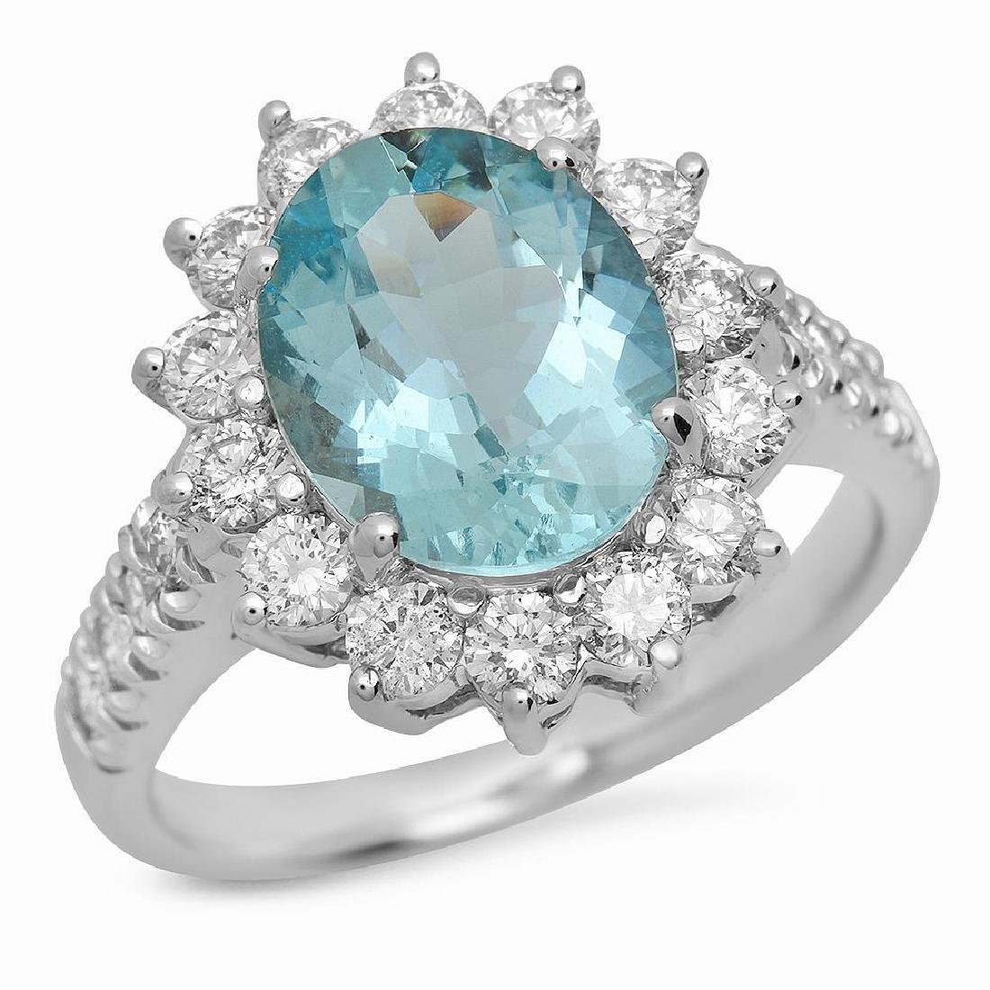 14K Gold 2.66ct Aquamarine 1.18ct Diamond Ring