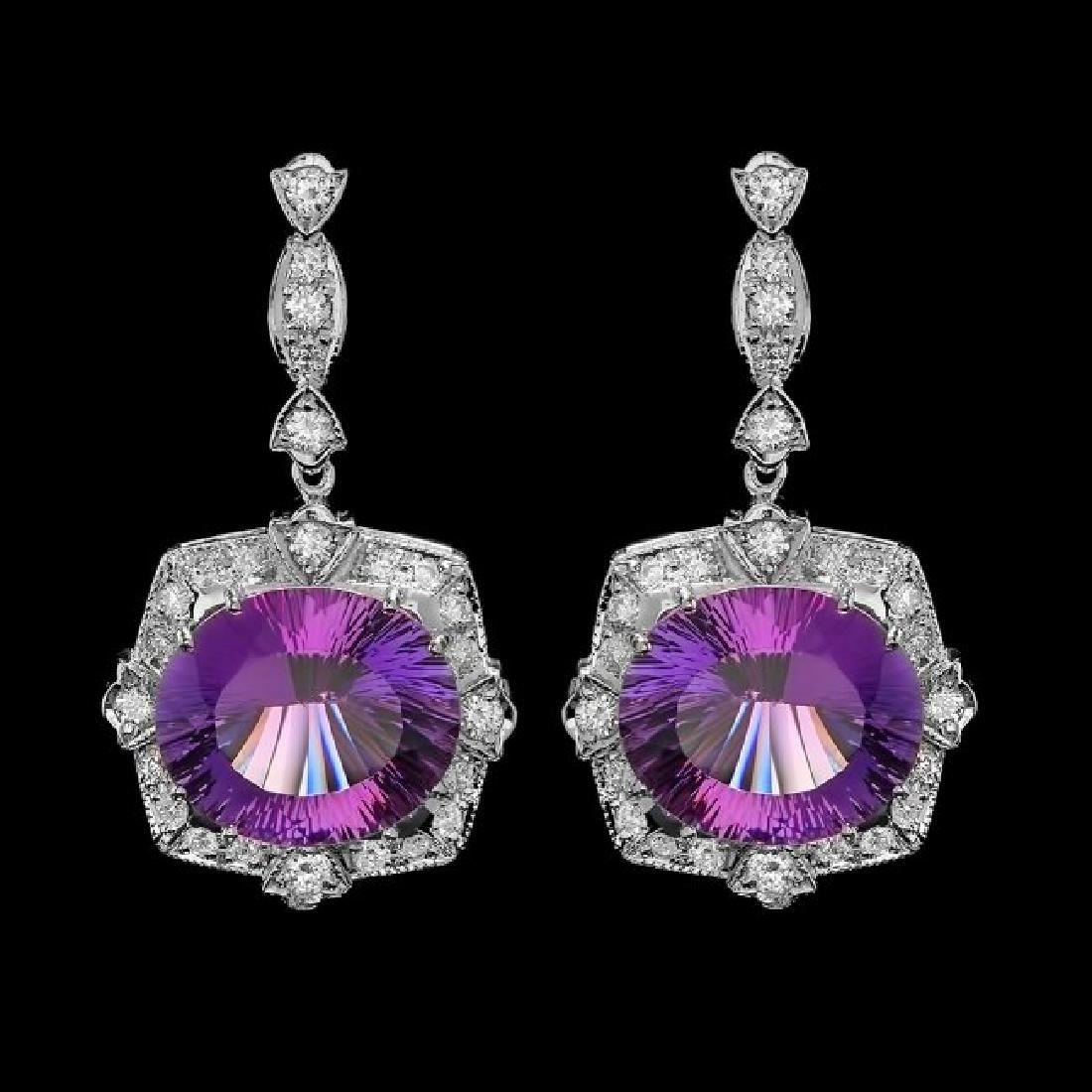 14k Gold 18.00ct Amethyst 1.90ct Diamond Earrings