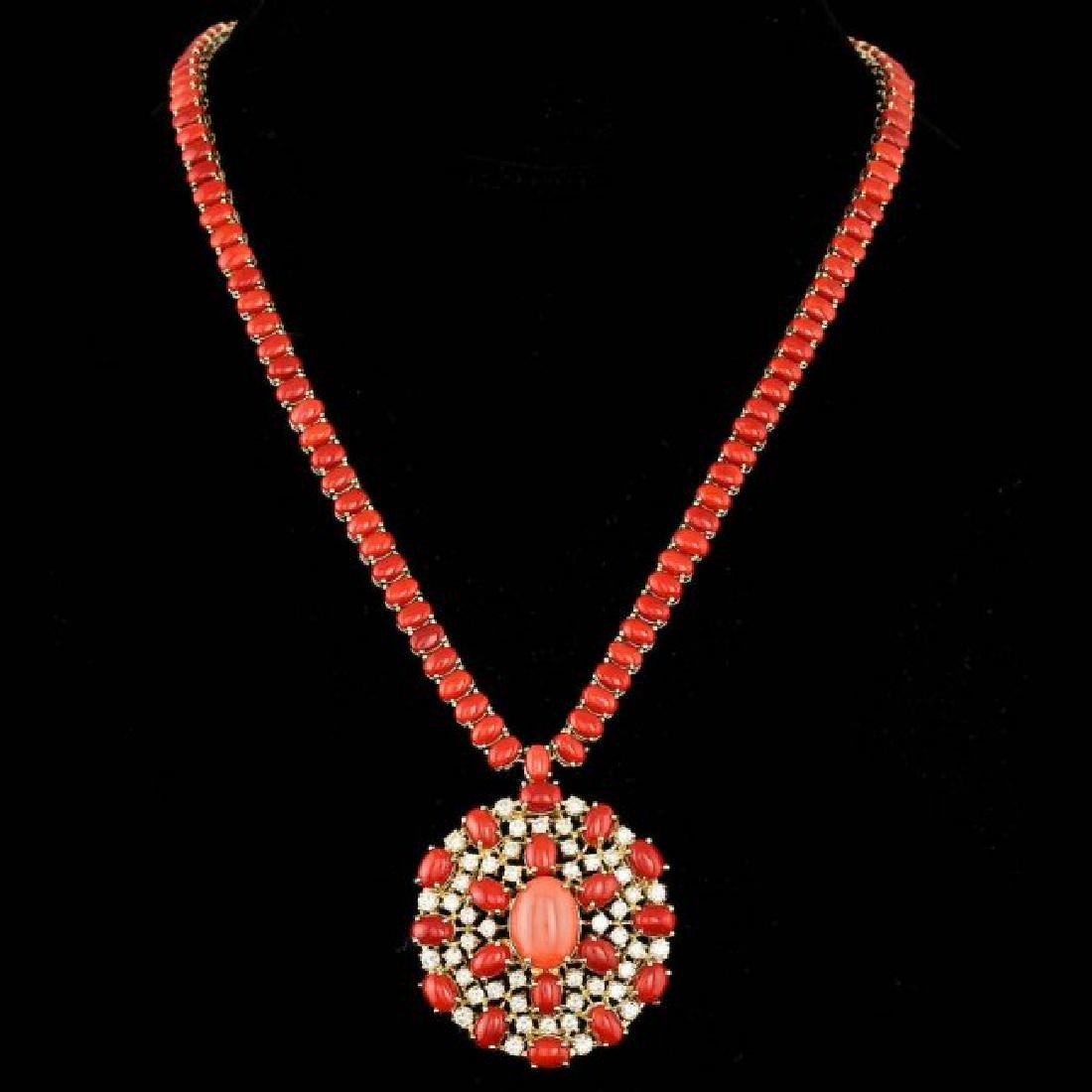 14k Gold 66ct Coral 4.40ct Diamond Necklace