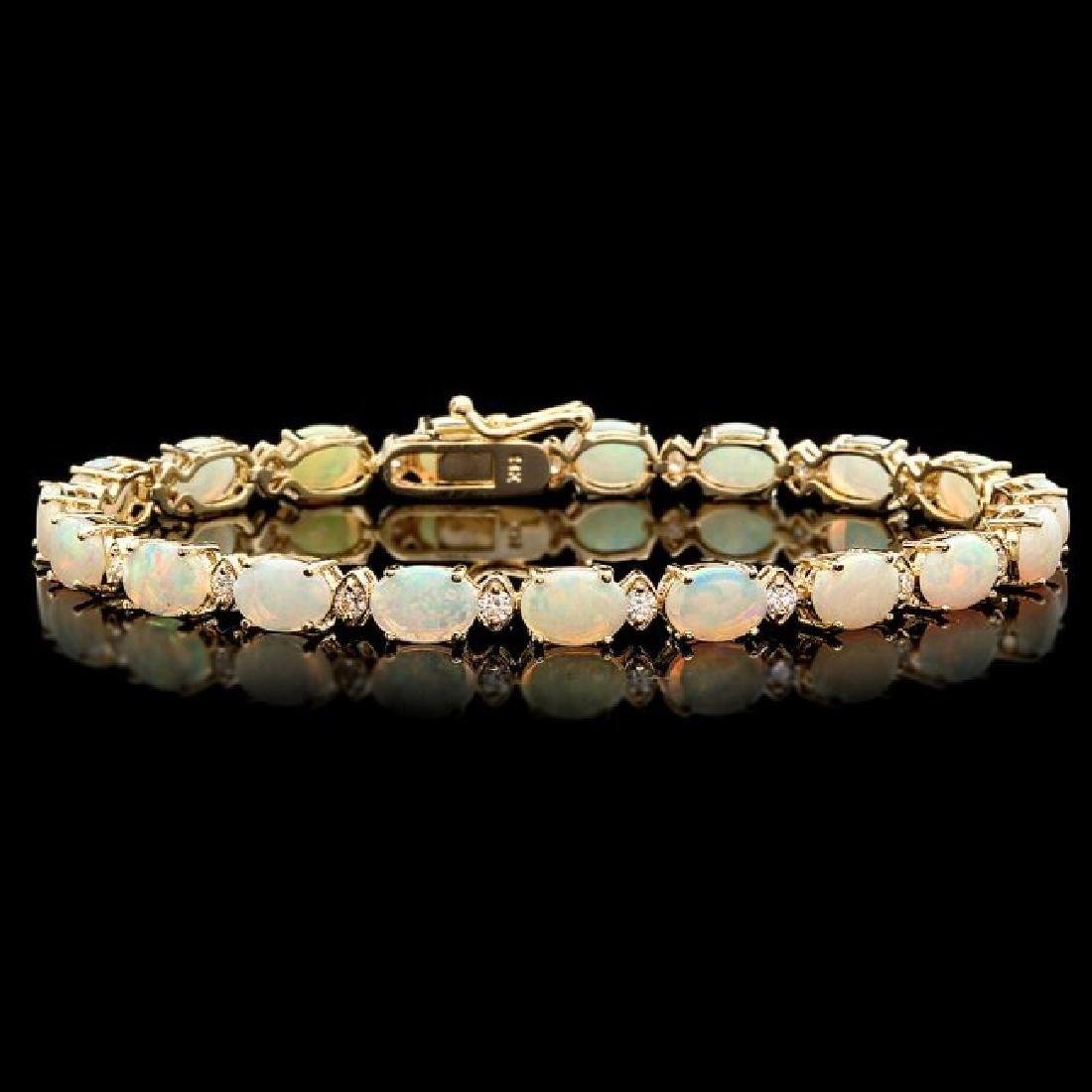 14k Gold 8.50ct Opal 0.85ct Diamond Bracelet