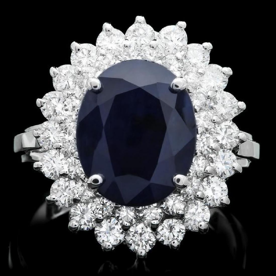 14k Gold 4.00ct Sapphire 1.65ct Diamond Ring