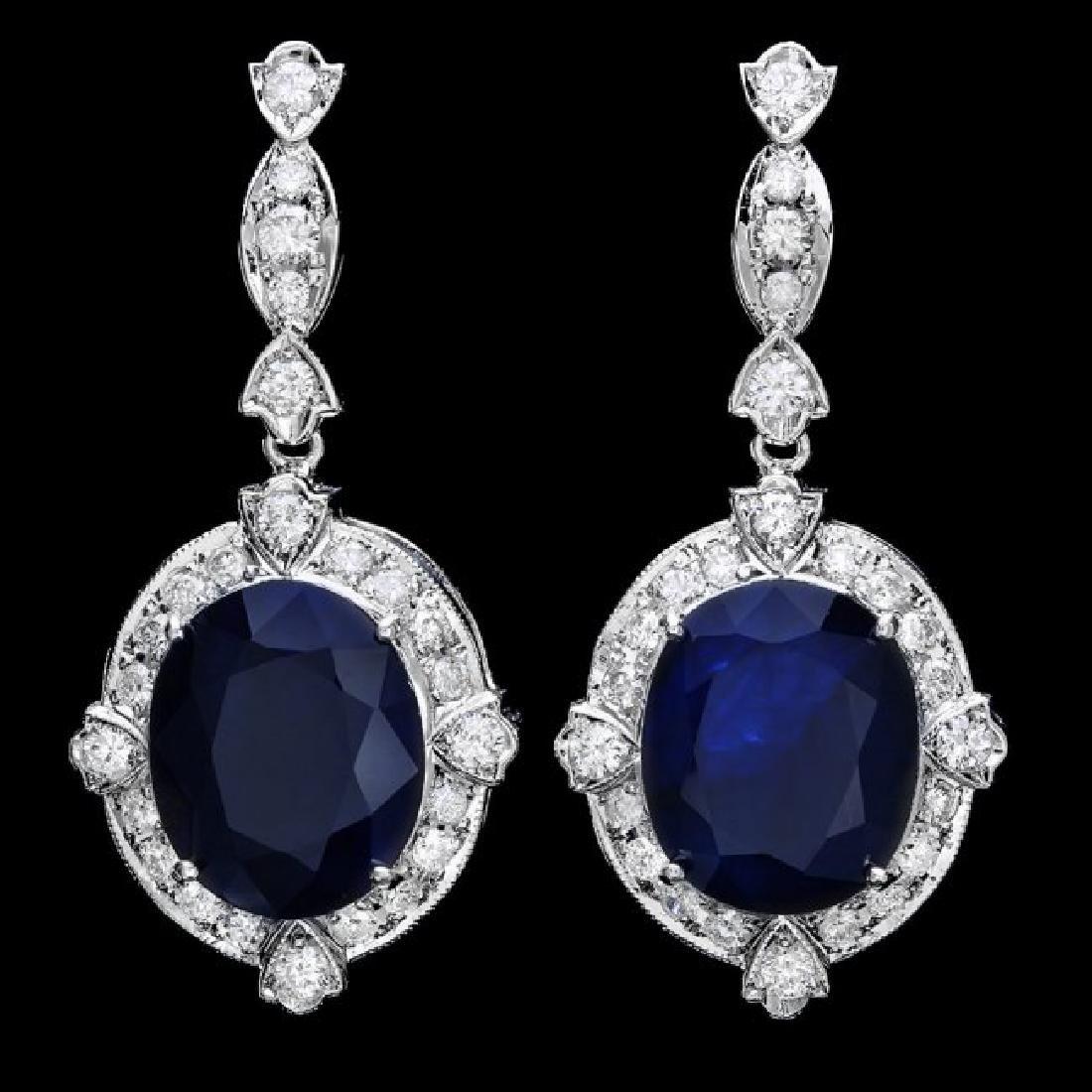 14k Gold 18ct Sapphire 1.80ct Diamond Earrings