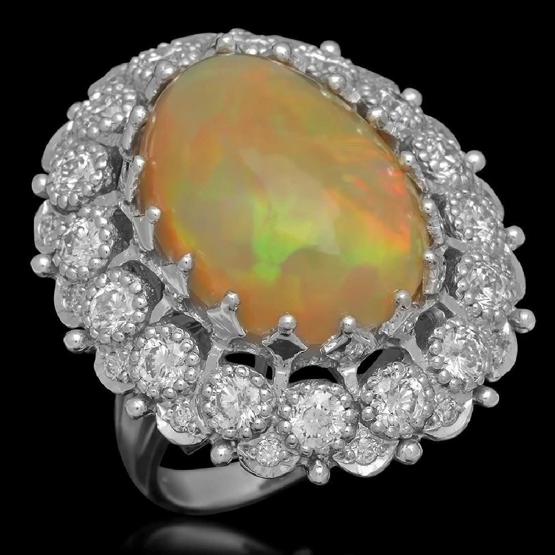 14K Gold 11.64ct Opal 2.89ct Diamond Ring