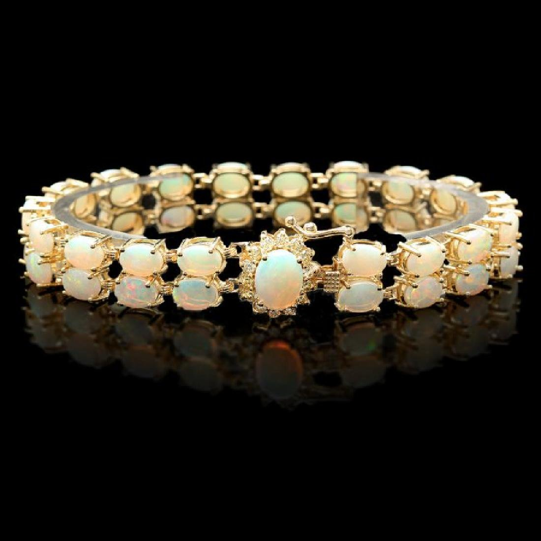 14k Gold 14.1ct Opal 0.50ct Diamond Bracelet