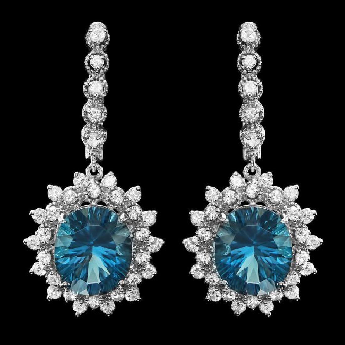 14k Gold 11.50ct Topaz 2.00ct Diamond Earrings
