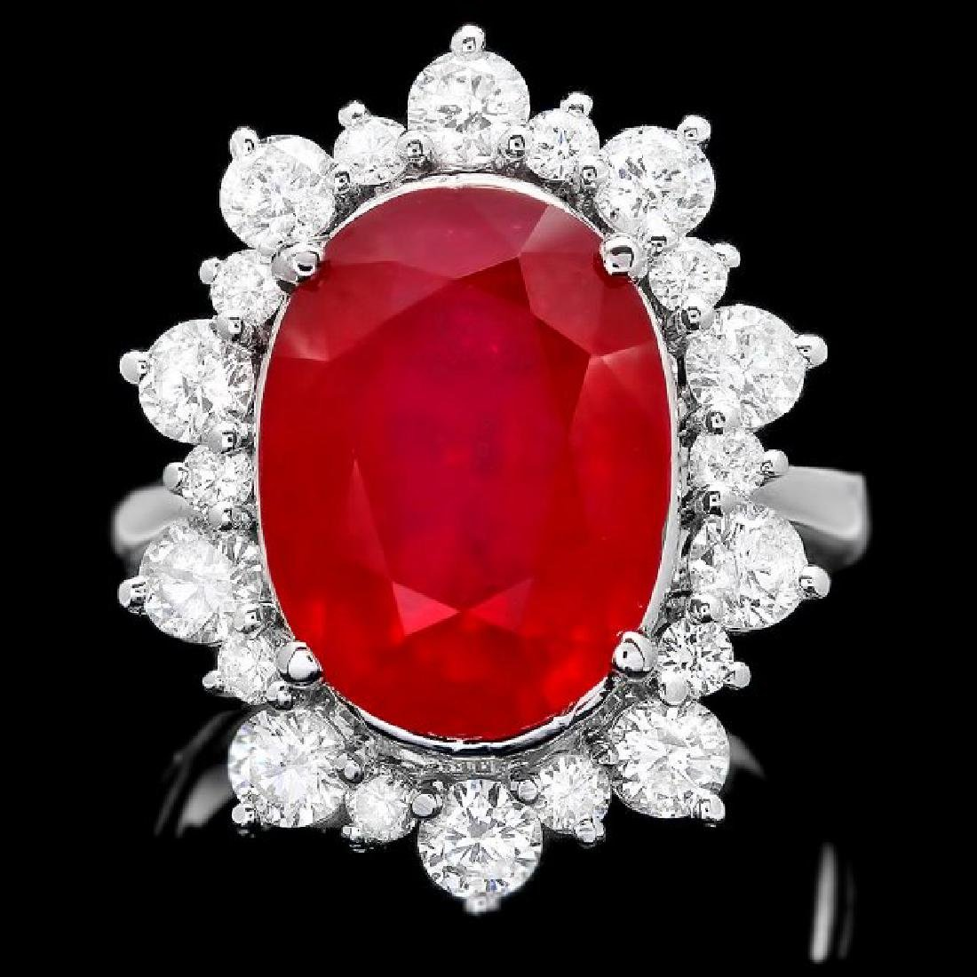 14k White Gold 11.00ct Ruby 2.00ct Diamond Ring