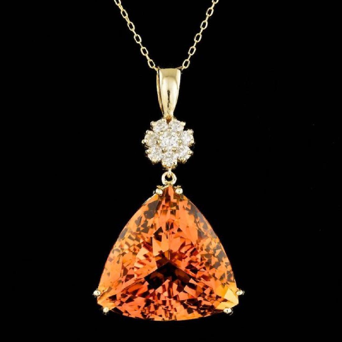 14k Gold 30.50ct Citrine 0.60ct Diamond Pendant