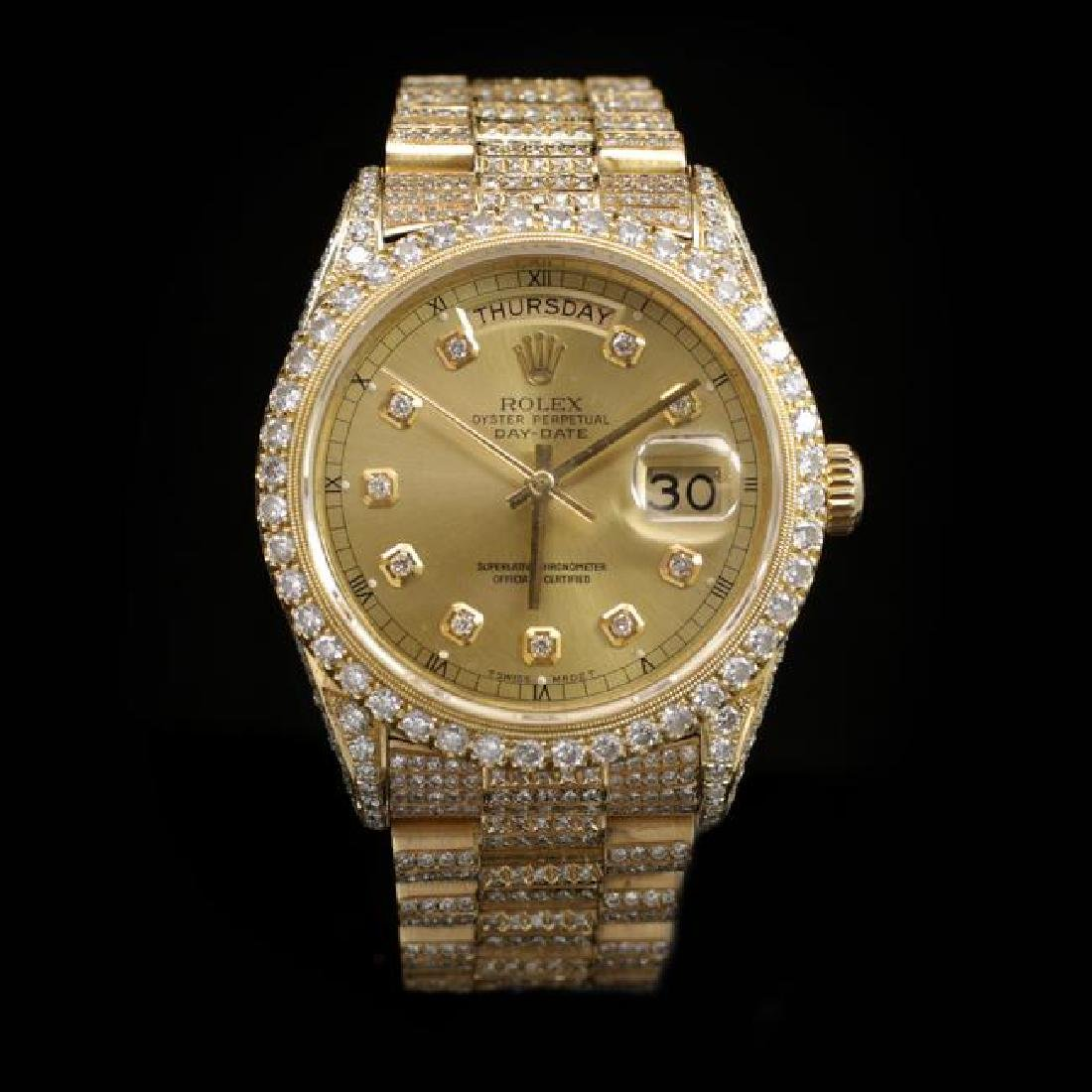 Rolex Day-Date 36mm Yellow Gold Mens Diamond Wristwatch