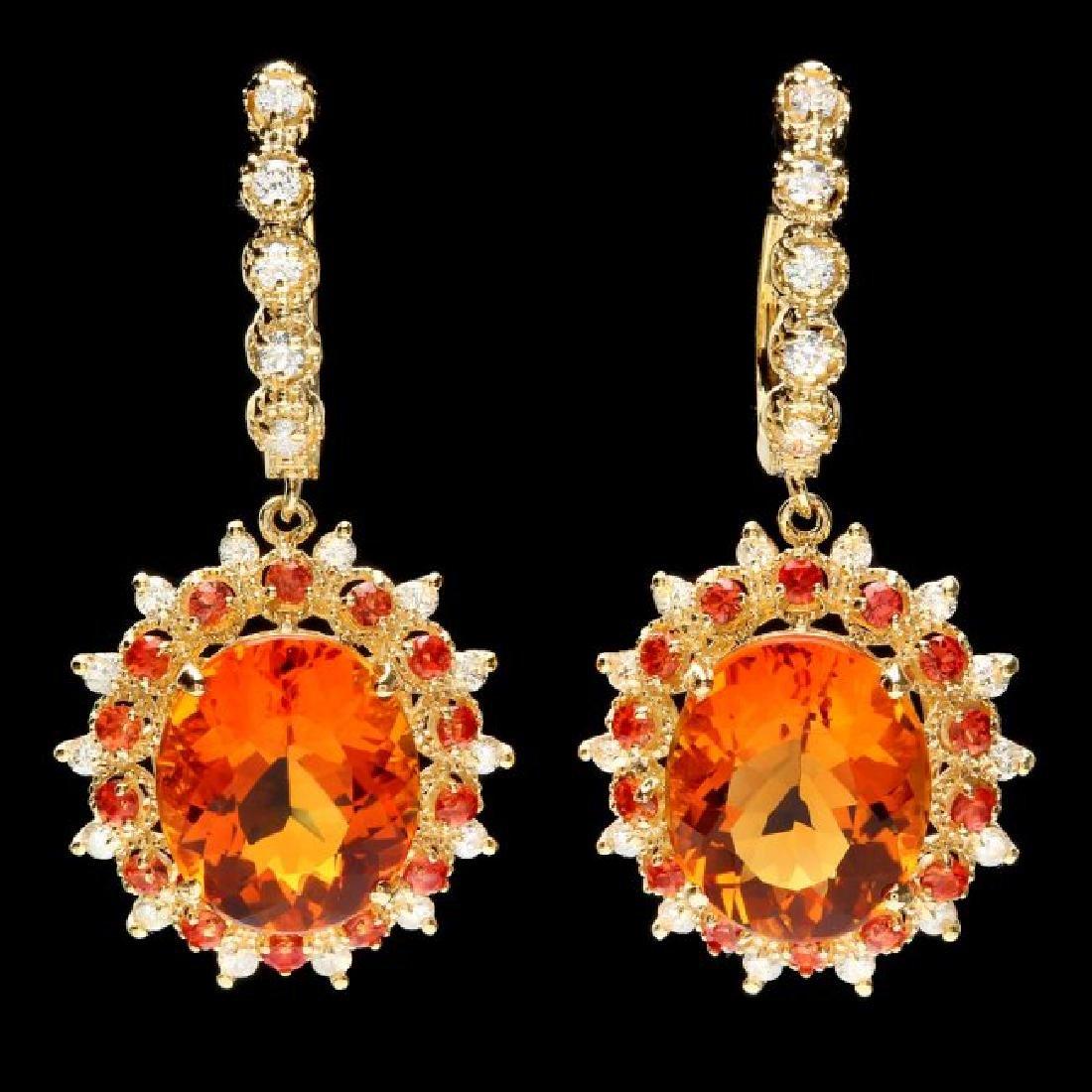 14k Gold 11ct Citrine 0.85ct Diamond Earrings