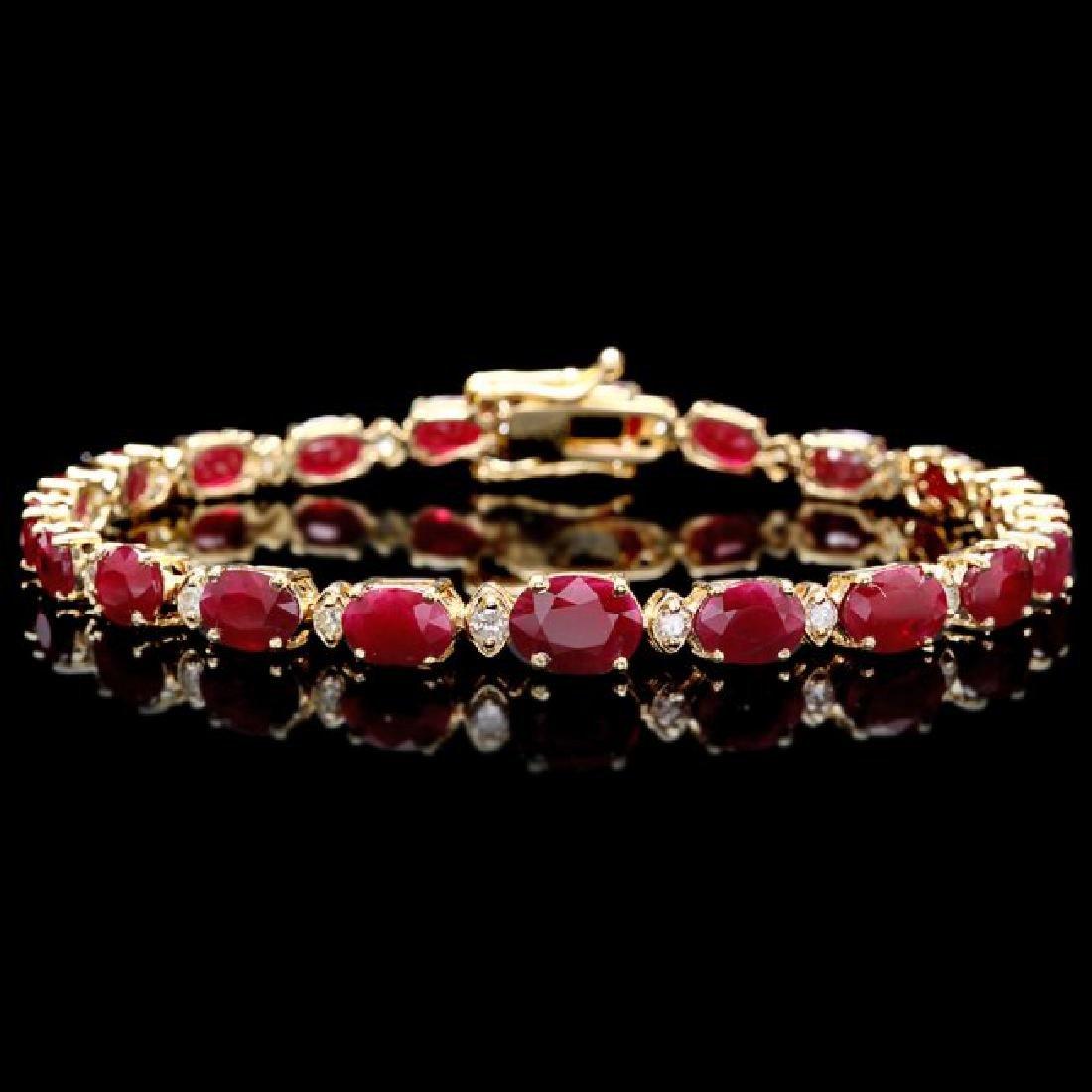 14k Gold 15.00ct Ruby 0.60ct Diamond Bracelet