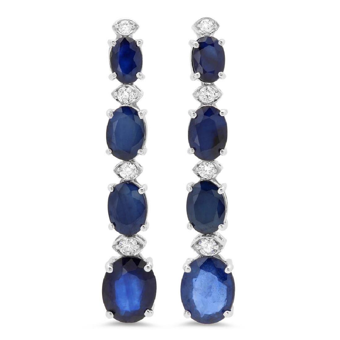 14K Gold 9.00ct Sapphire 0.36cts Diamond Earrings