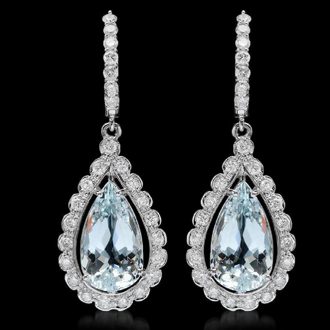 14k Gold 8.52ct Aquamarine 1.54ct Diamond Earrings