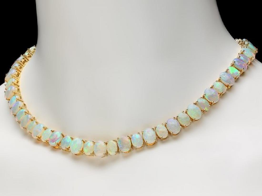 14k Yellow Gold 50.00ct Opal Necklace - 4