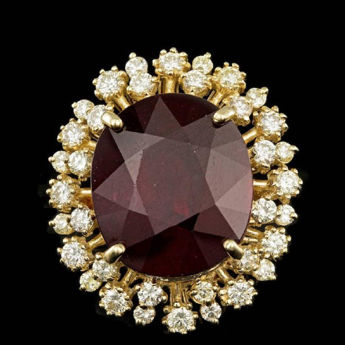 14k Yellow Gold 18.50ct Ruby 1.30ct Diamond Ring