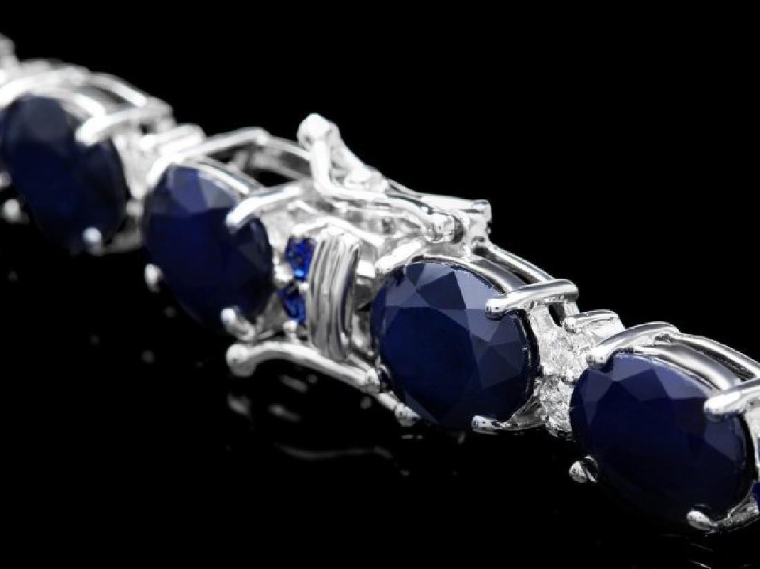 14k Gold 36ct Sapphire .70ct Diamond Bracelet - 3