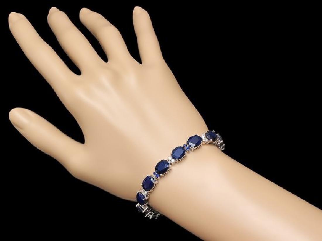 14k Gold 36ct Sapphire .70ct Diamond Bracelet - 5