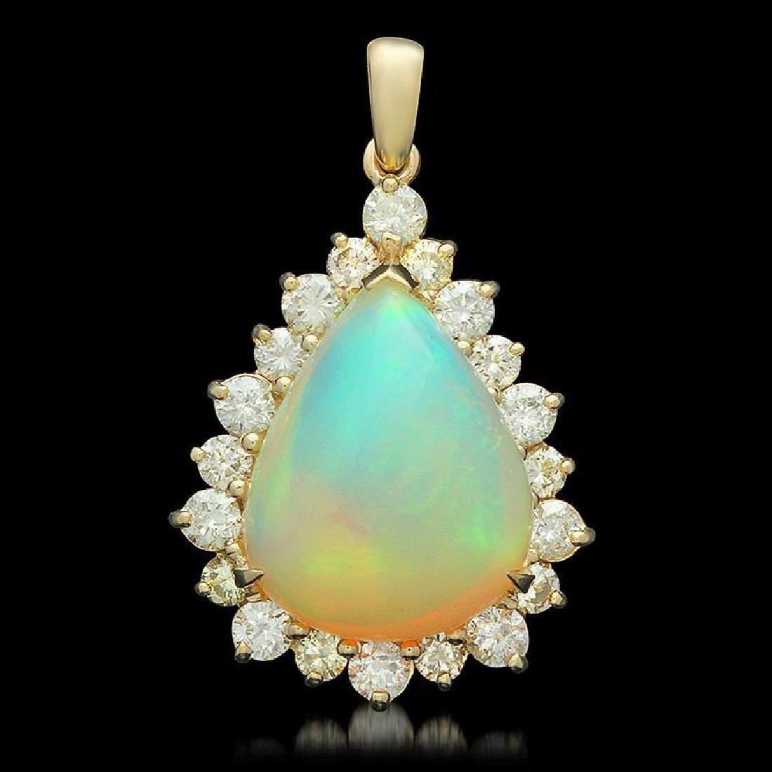 14K Gold 10.78ct Opal 2.15ct Diamond Pendant