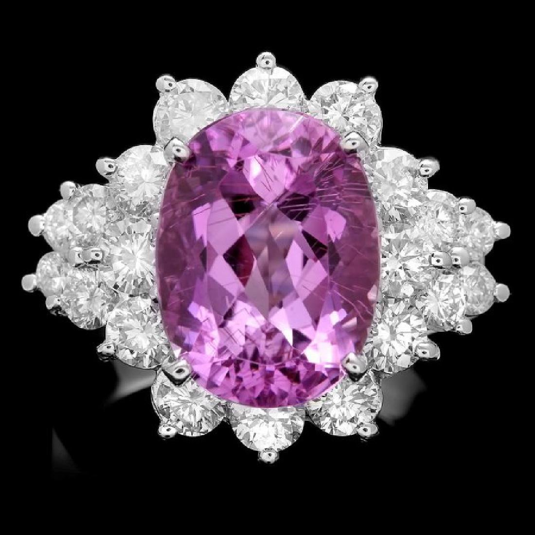 14k White Gold 6.00ct Kunzite 2.10ct Diamond Ring