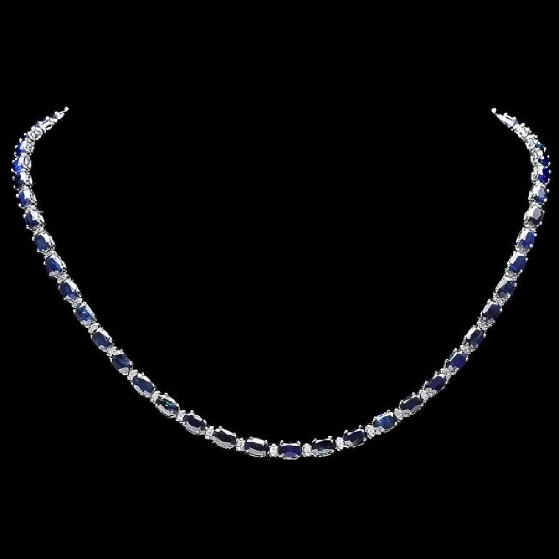 14k Gold 34ct Sapphire 0.90ct Diamond Necklace