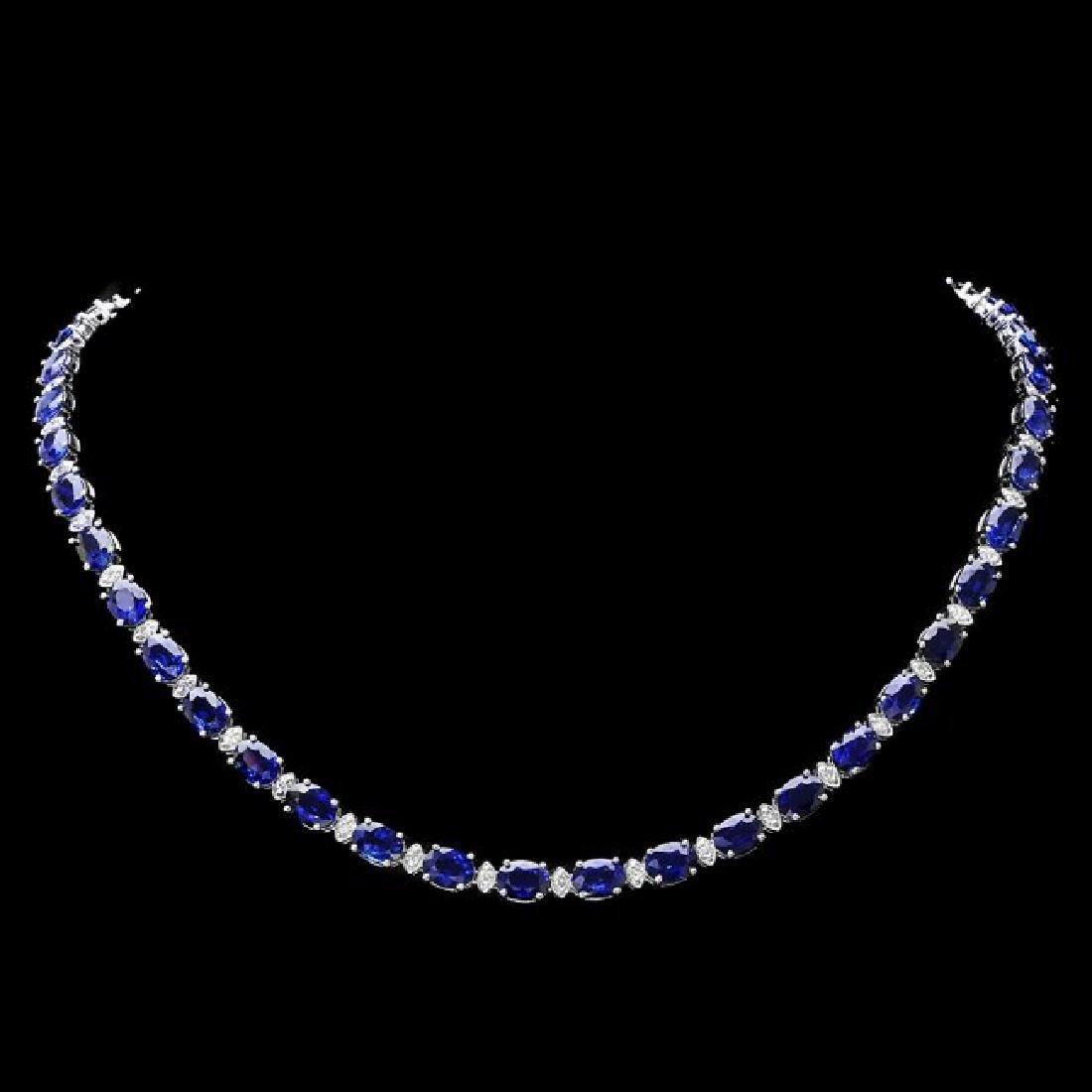 18k Gold 40.00ct Sapphire 1.90ct Diamond Necklace