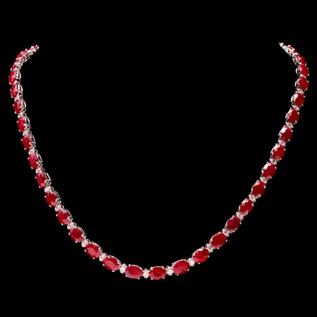 14k Gold 41.00ct Ruby 2.00ct Diamond Necklace