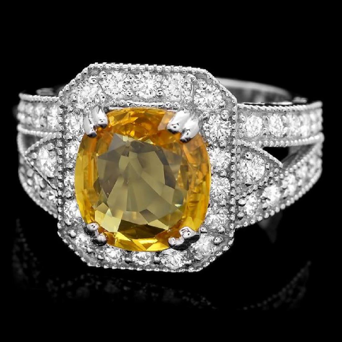 14k Gold 3.50ct Sapphire 3.50ct Diamond Ring