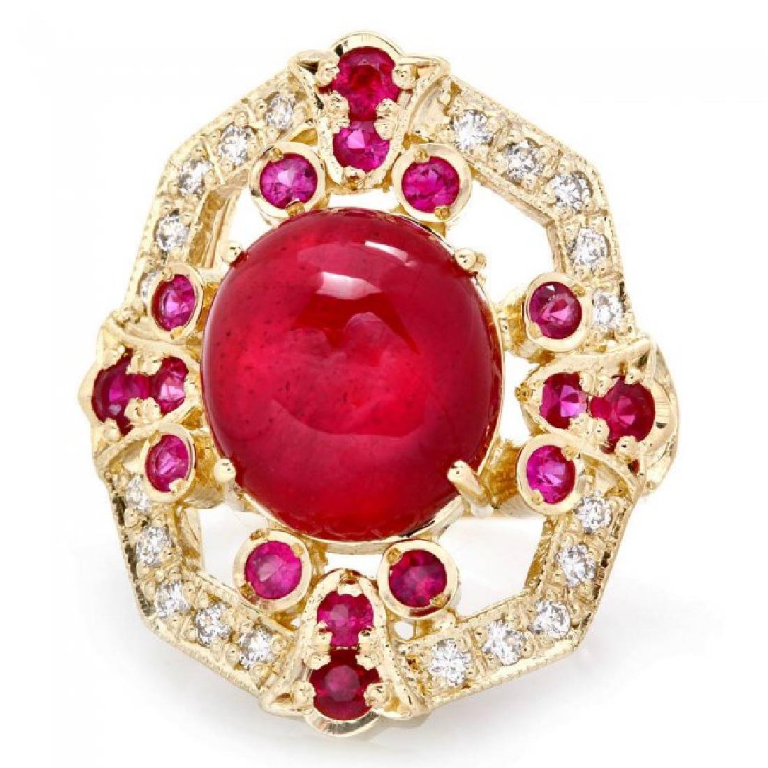 14k Yellow Gold 13ct Ruby 0.50ct Diamond Ring - 2