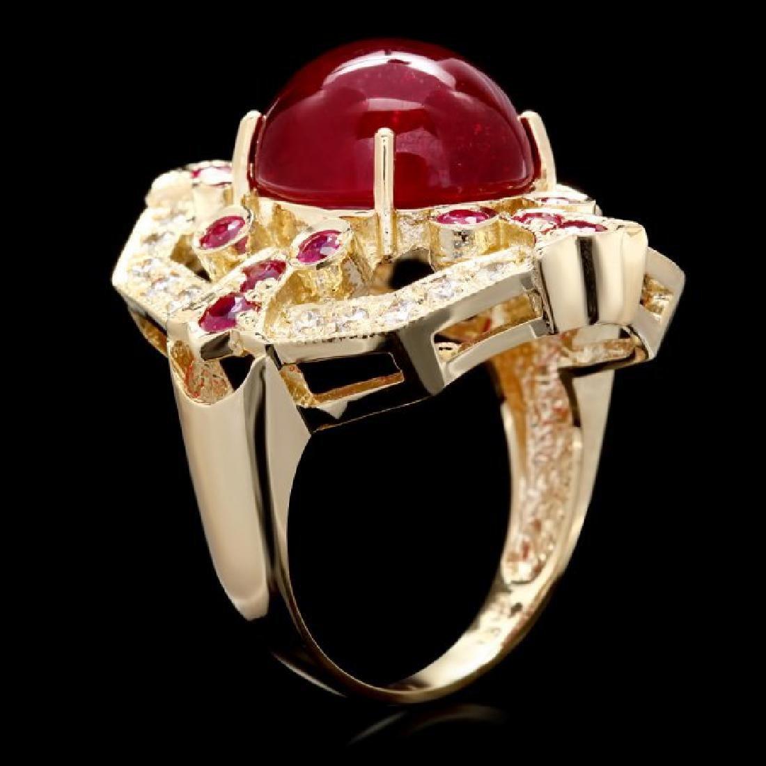 14k Yellow Gold 13ct Ruby 0.50ct Diamond Ring - 3