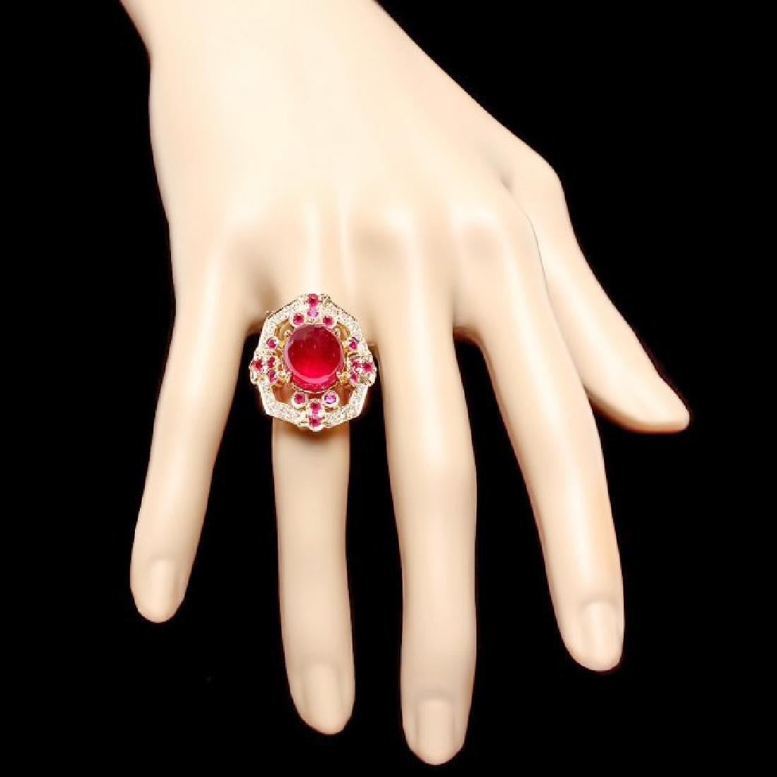 14k Yellow Gold 13ct Ruby 0.50ct Diamond Ring - 4