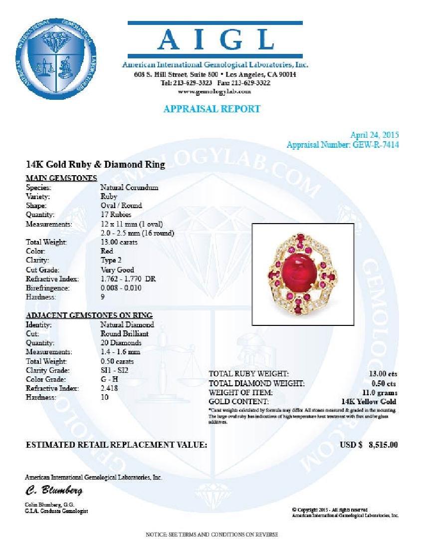 14k Yellow Gold 13ct Ruby 0.50ct Diamond Ring - 5