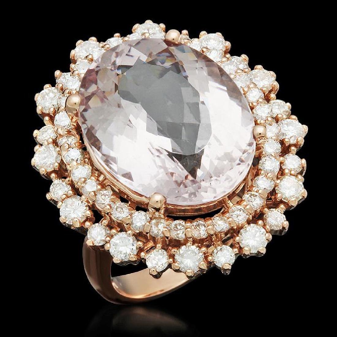14K Gold 11.52ct Morganite 1.92ct Diamond Ring