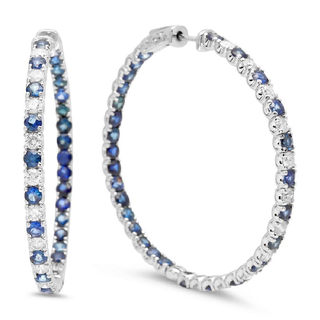 14K Gold 7.86ct Sapphire 2.32cts Diamond Earrings