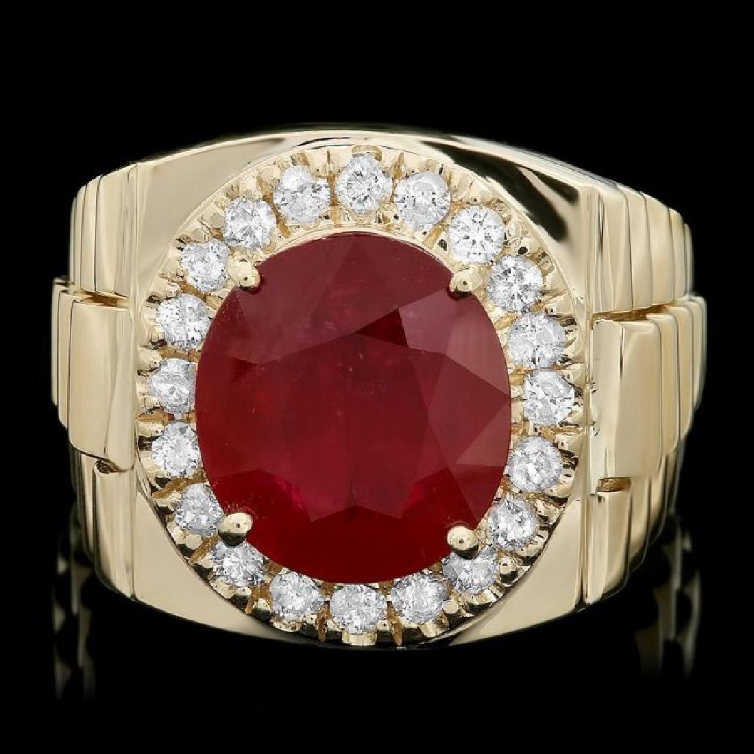 14k Gold 8.00ct Ruby 0.70ct Diamond Mens Ring