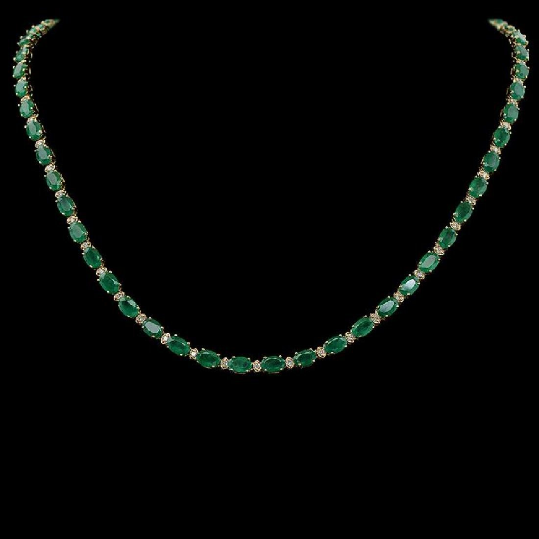 14K Gold 21.88ct Emerald 0.95ct Diamond Necklace